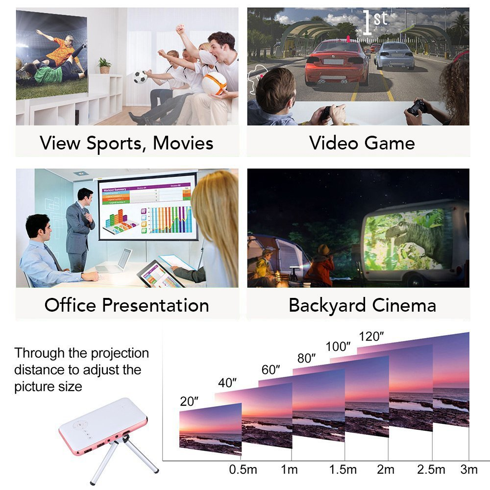 LED Mini Pocket Projector,AIJIWU Mobile DLP Home Theater Android Wi-Fi Smart Pico Projector with Digital 120'' Max Display 100LM LED Lamp, Rechargeable, Free HDMI Cable, Tripod & 32GB (Silver)