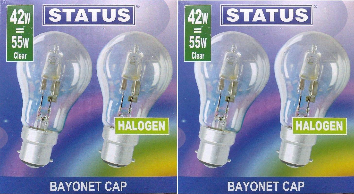 4 x STATUS 42W (=55W-60W) BC B22 B22d GLS Eco Halogen Classic Energy Saving Light Bulbs, Dimmable Lamps, Bayonet Cap, 630 Lumen, Mains 240V Standard Globes