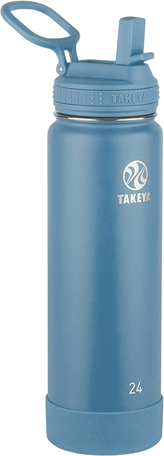 Takeya Actives Insulated Water Bottle w/Straw Lid, Bluestone, 24 Ounces