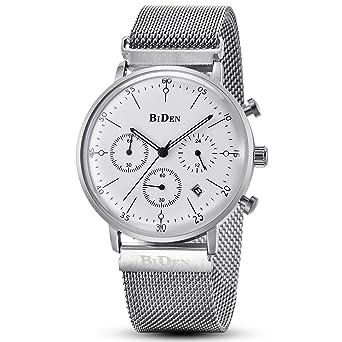 Reloj de cuarzo de pulsera de acero inoxidable para hombre, con calendario, fecha, esfera secundaria, correa milanesa y caja GORBEN (blanca)