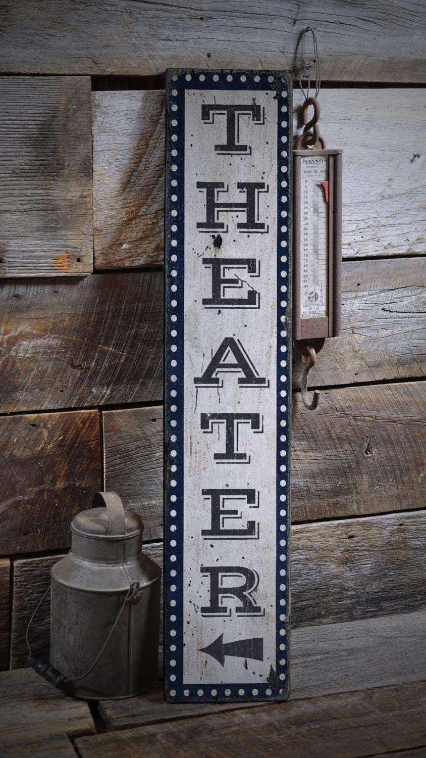 Movie Room Sign, Home Theater Sign, Vertical Theater Sign Wood Theater Sign, Home Theater Decor - Rustic Hand Made Farmhouse Rustic Retro Wooden Sign Plaque Decoration for Garden,Home Decor