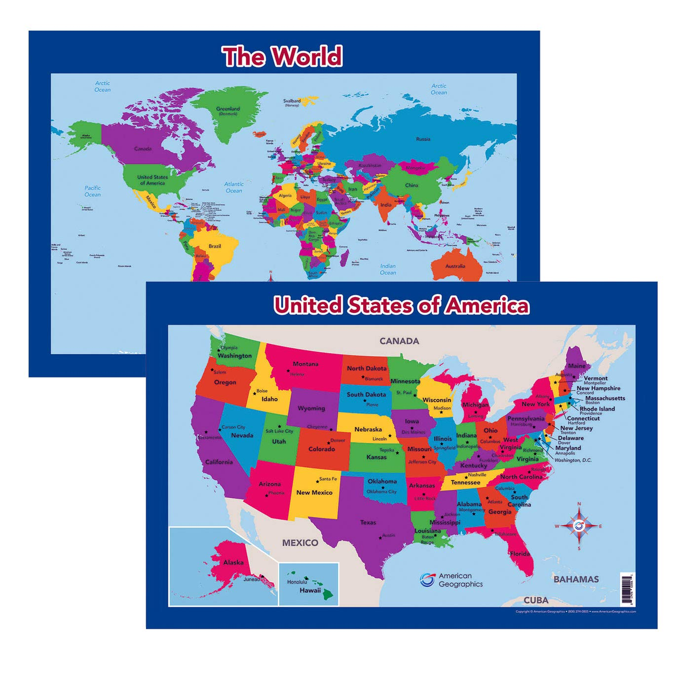 Amazon.com : World & United States Wall/Desk Maps for Kids (Two Maps on i-5 map, route 20 map, i-84 map, i-35 map, i-75 map, detailed ohio road map, route 76 map, i-17 map, i 476 exit map, i-93 map, route 6 map, the geysers ca map, interstate 76 map, i-10 map, i-64 map, i-270 map, i-22 map, i-675 map, i-81 map, i-25 colorado map,