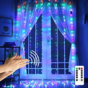 Mutilcolor Curtain Lights String,9.8Ftx9.8Ft 300 LED Hanging Fairy Lights with Remote for Bedroom Wall Decor,Sync Music Setting & 8 Modes with Auto On/Off Timer