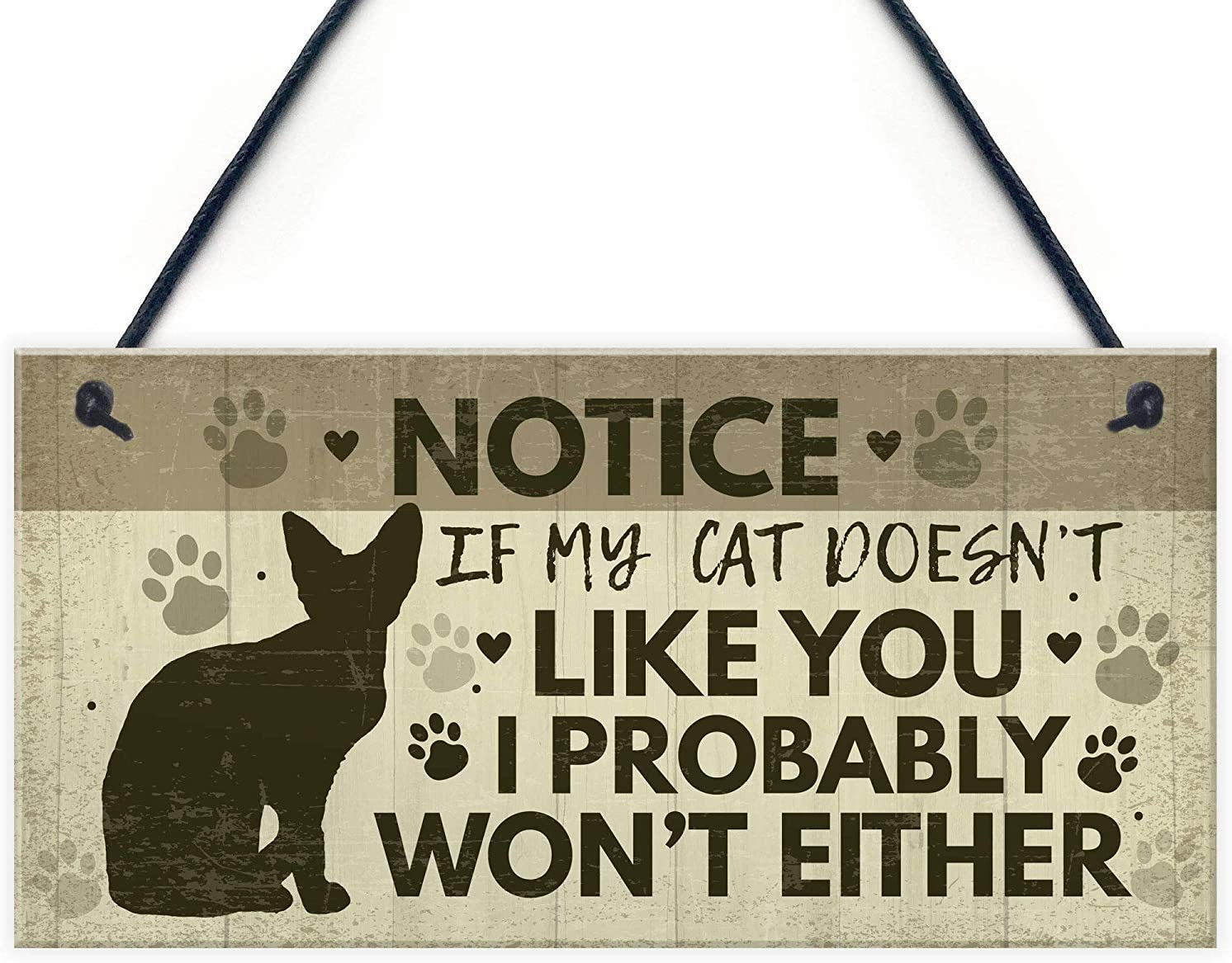 Meijiafei Funny Cat Sign for Home Hanging Wall Plaque Funny Pet Sign for Cat Friendship Gift Home Decor Keepsake 10