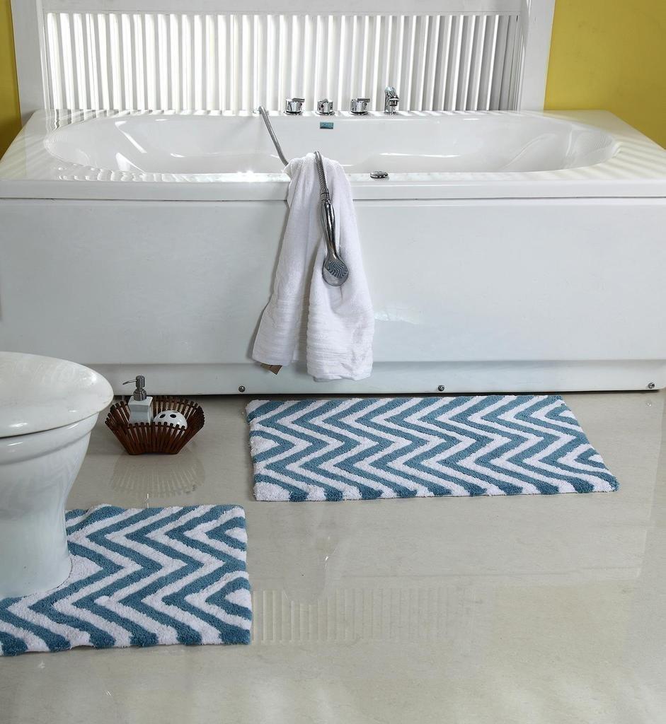 WARISI - 2 Piece Chevron Pedestal Collection - Designer Plush, Cotton Bath Rug and contour, 34 x 21 and 21 x 21(Aqua Blue White)