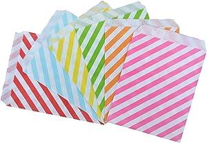 Rantanto 48 Pcs Food Safe Biodegradable Paper Treat Sacks, Party Favors Bags (BZ0004 Horizontal Stripes)