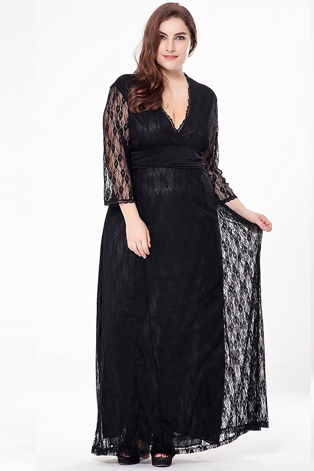 c2a4a9784dc Unomatch Women Plus Size Evening Maxi Gown Dress Black at Amazon Women s  Clothing store