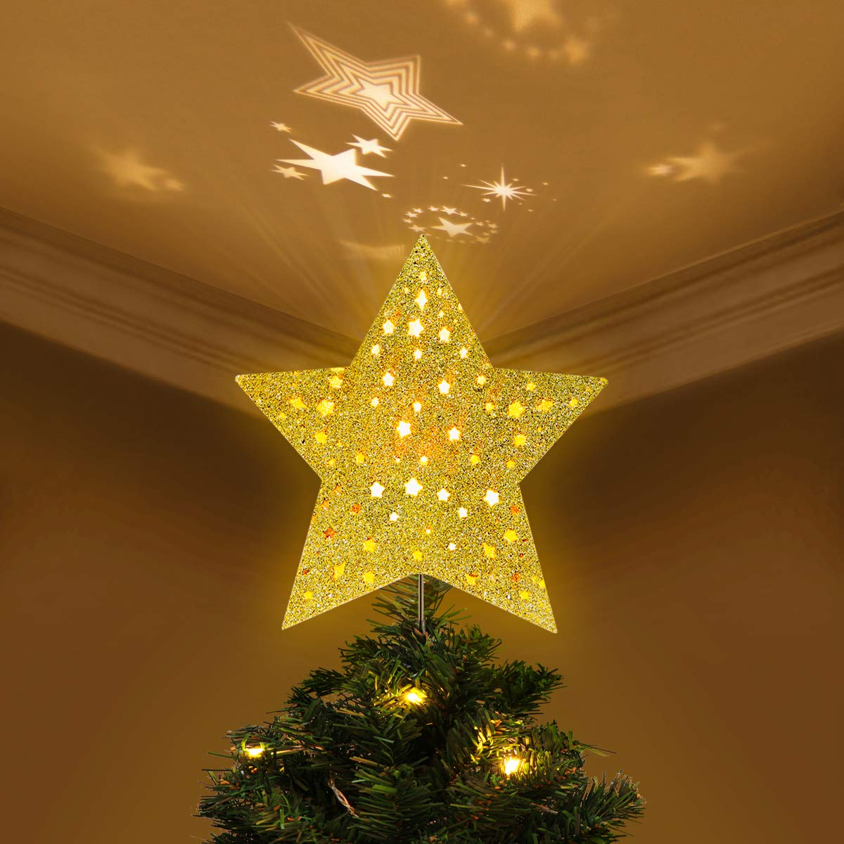 Yunlights 8 Inch Lighted Christmas Tree Topper Classic 5 Point Star