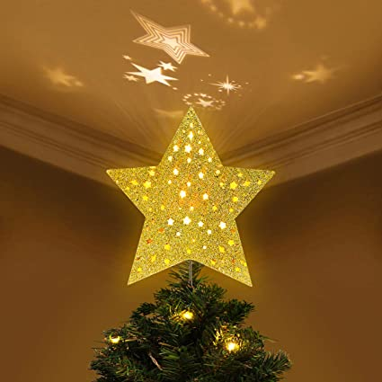 YUNLIGHTS Lighted Christmas Tree Toppers with Rotating Star Projector, Gold  Glittered 5 Point Star Tree - Amazon.com: YUNLIGHTS Lighted Christmas Tree Toppers With Rotating