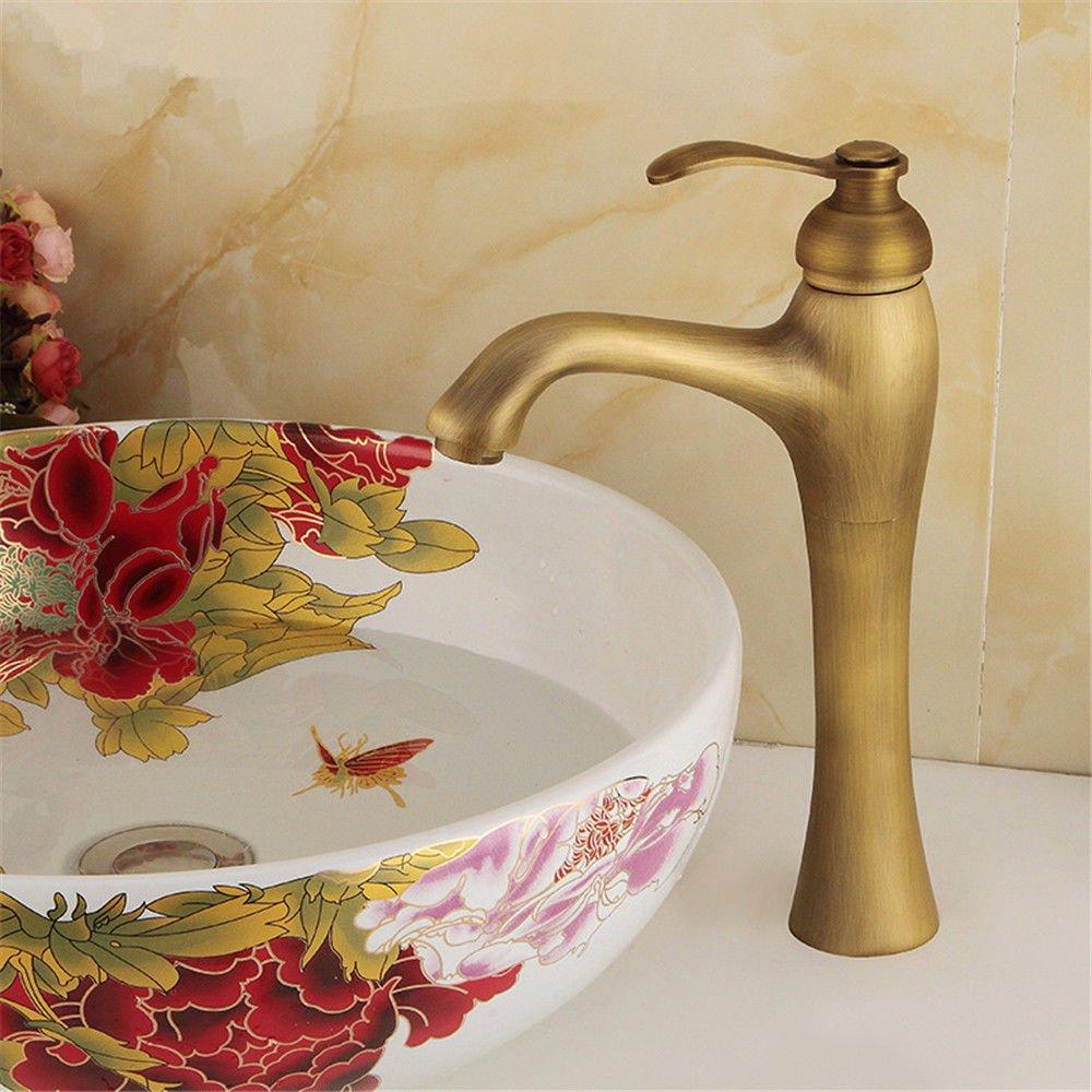 MEIBATH Waschtischarmatur Badezimmer Waschbecken Wasserhahn Küchenarmaturen Messing Warmes und Kaltes Wasser Retro Antik Küchen Wasserhahn Badarmatur