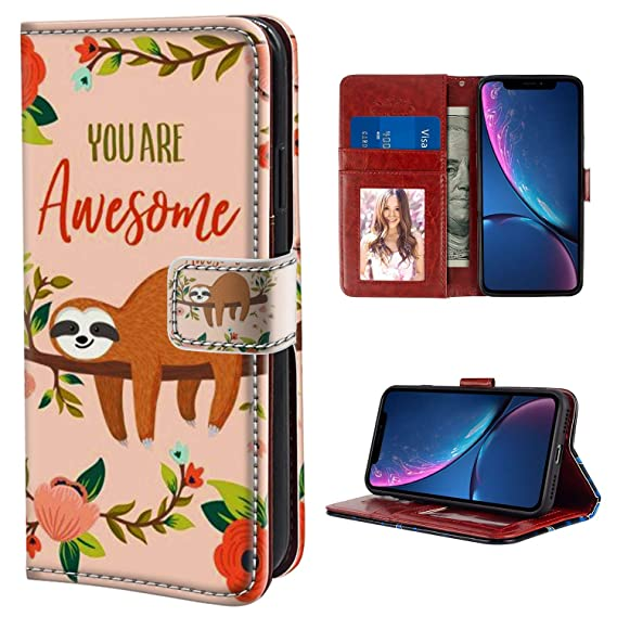 best loved b31ef d4b6a Sloth Flip Wallet Case for iPhone Xr Leather Case with Kickstand PU Leather  Wallet Case Stand Folio Cover Case for iPhone Xr