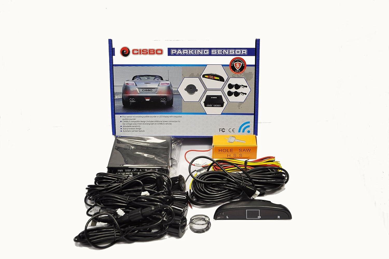 Cisbo SB398sensori di parcheggio in retromarcia buzzer display a LED Canbus kit, nero, set di 4