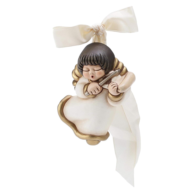 Formella con Fiocco Bianco Ceramica THUN/® Linea I Classici Coppia Angeli da Parete con Targetta Personalizzabile