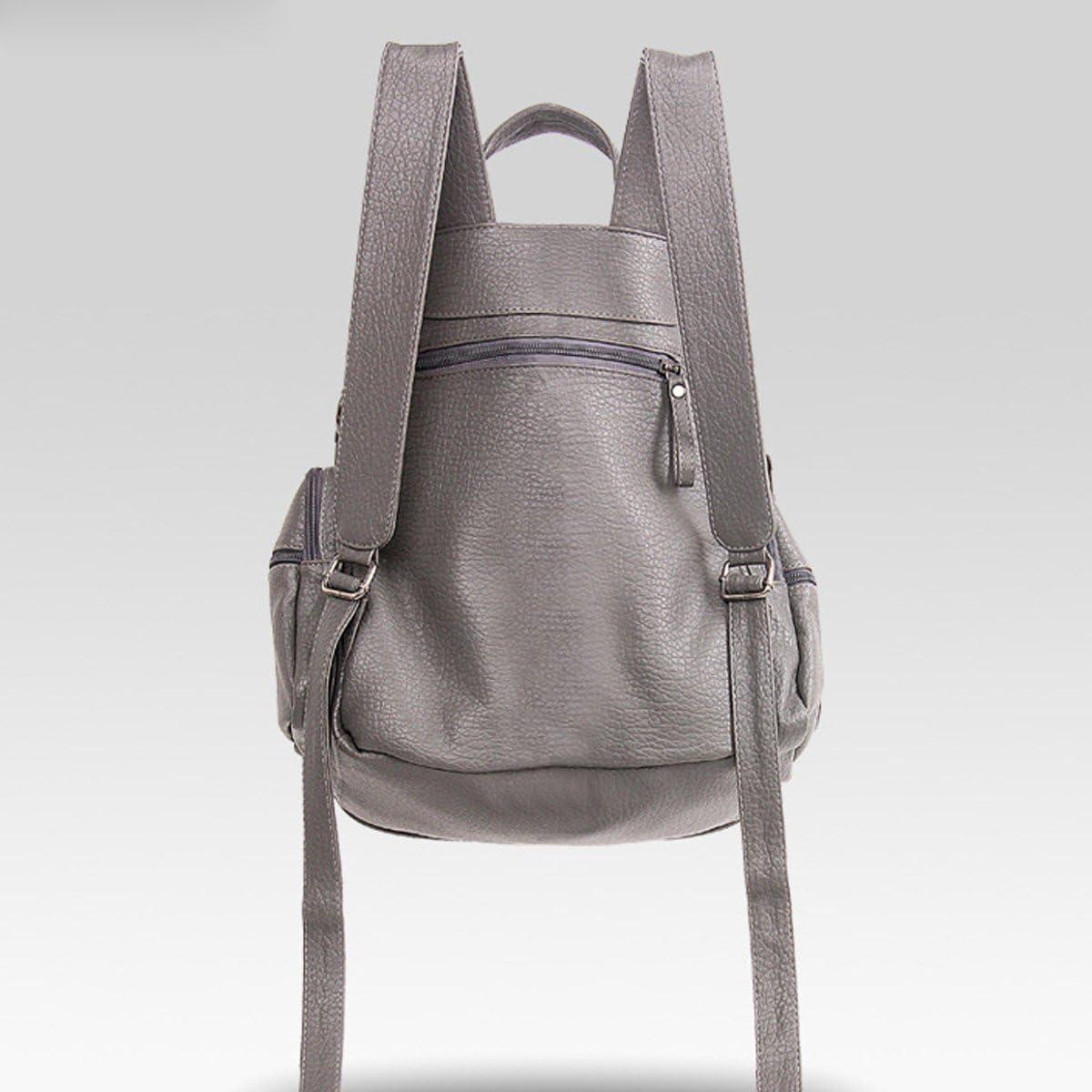 Woman New Style Washable Leather Shoulder Bag Fashion Rivet Multi Function Backpack Soft Single Shoulder Bag
