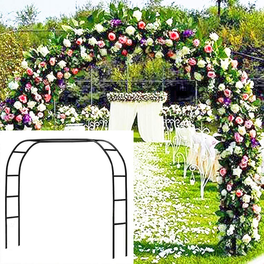 "Metal Garden Arbor Wedding Arch 6'5"" H x 7'6"" W / 7'10""H x 4'6"" W Assemble Freely 2 Sizes for Various Climbing Plant Roses Vines Bridal Party Decoration Pergola Arbor (Black)"