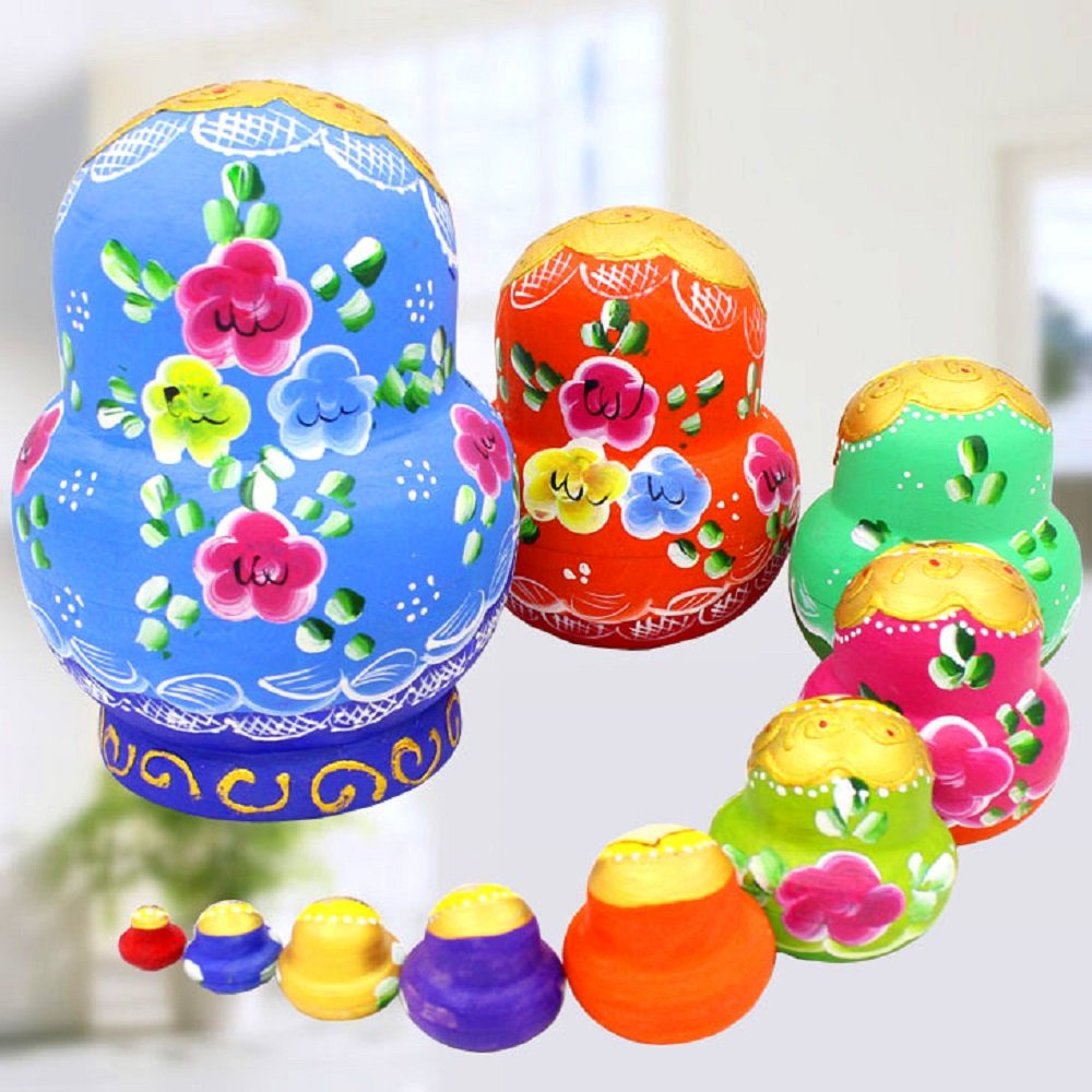 King&Light - 10pcs Peony Multicolor Russian Nesting Dolls Matryoshka Toys by K&L by LK (Image #2)