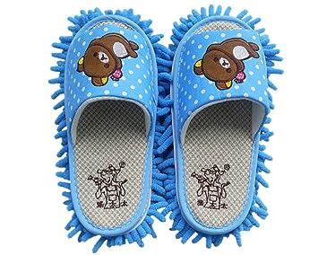 YL historia microfibra chenilla oso patrón Lazy Zapatillas fregona desmontable zapatos de limpieza Limpiador de suelo, azul, talla única: Amazon.es: Hogar