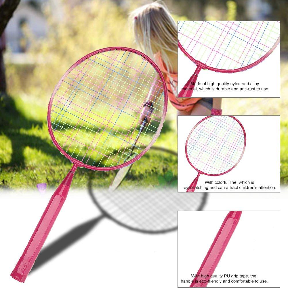 1 x Runde Ball Rot Blau Durable Nylon-Legierung Badmintonschl/äger Schl/äger f/ür Kinder Kinder Junioren Erwachsene Trainingspraxis 1 x Kid Kinder Junior Badmintonschl/äger Set 2 1 x Badminton Ball