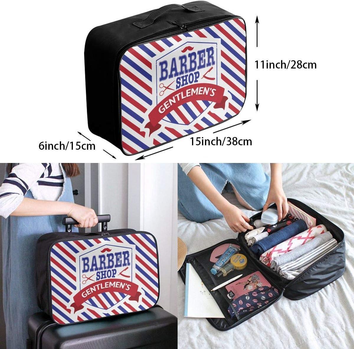 Vintage Emblem Of Barber Shop Flag 3D printed Borse da viaggio,Tote da viaggioTravel Lightweight Waterproof Foldable Storage Carry Luggage Duffle Tote Bag