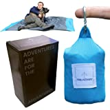 Pocket Blanket by Treadway - Over 6ft x 4ft - Camping/Beach/Picnic blanket - Ultra-lightweight, water-resistant, 6 pockets, 4 stake loops, fold any way to repack, carabiner included