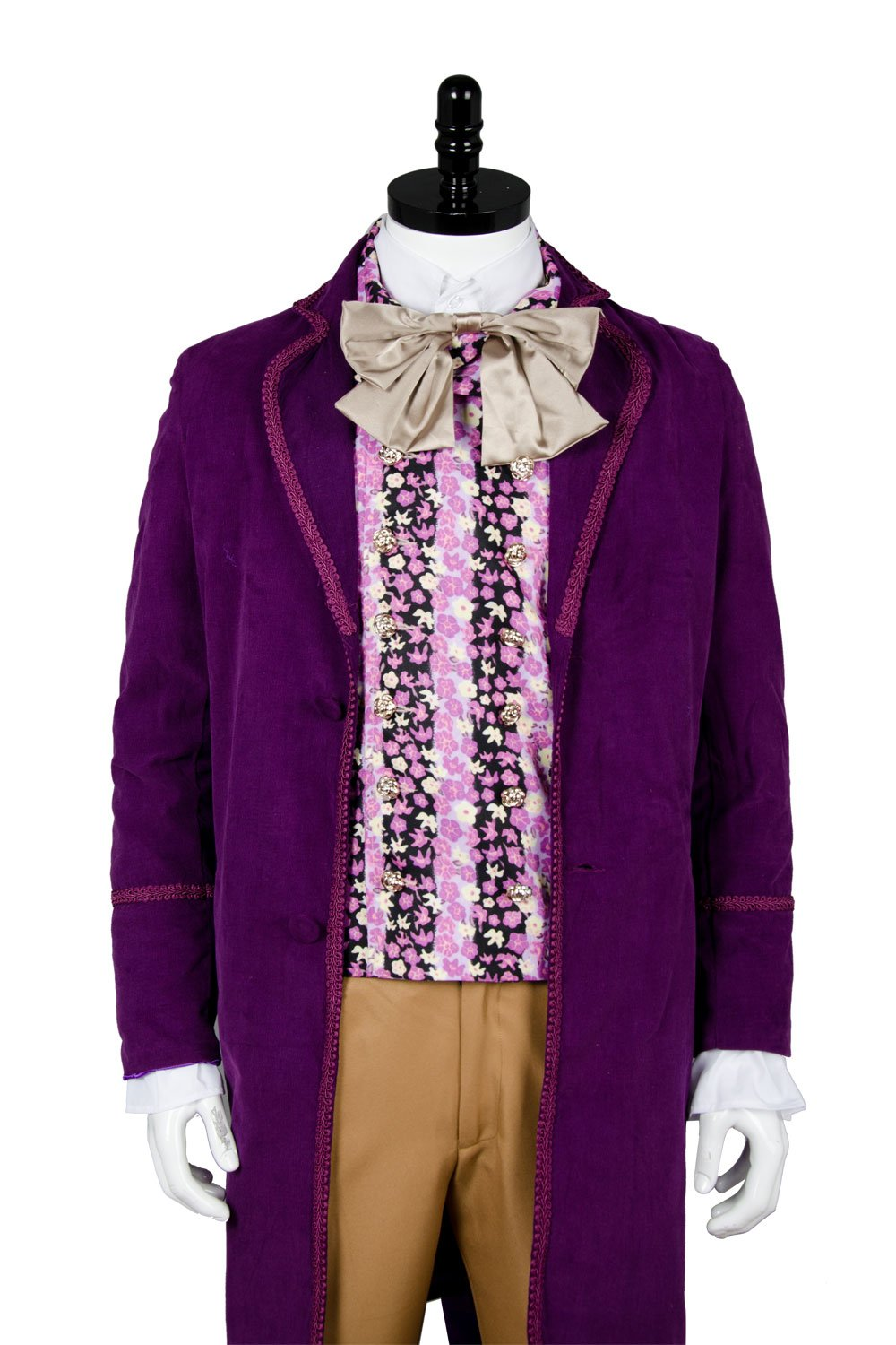 NoveltyBoy Willy Wonka Charlie and the Chocolate Factory Red Johnny Depp Purple Coat Vest Tie Set Costume