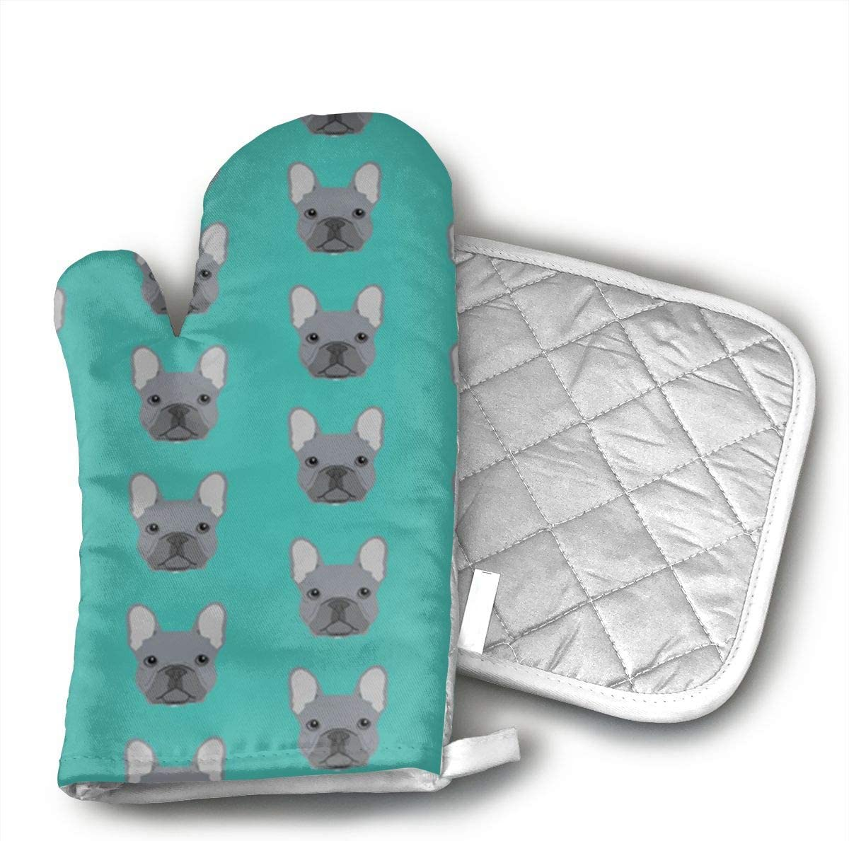 Wiqo9 Frenchie Fabric French Bulldog Oven Mitts and Pot Holders Kitchen Mitten Cooking Gloves,Cooking, Baking, BBQ.