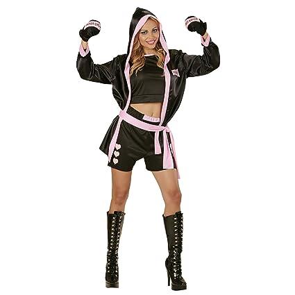 WIDMANN 73962 - adulto boxeador traje, Top, corto, abrigo con capucha y guantes, negro, talla M