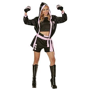 WIDMANN 73963 - Traje de Mujer de boxeo, incl. sujetador, pantalones cortos, chaqueta con capucha y guantes negros,