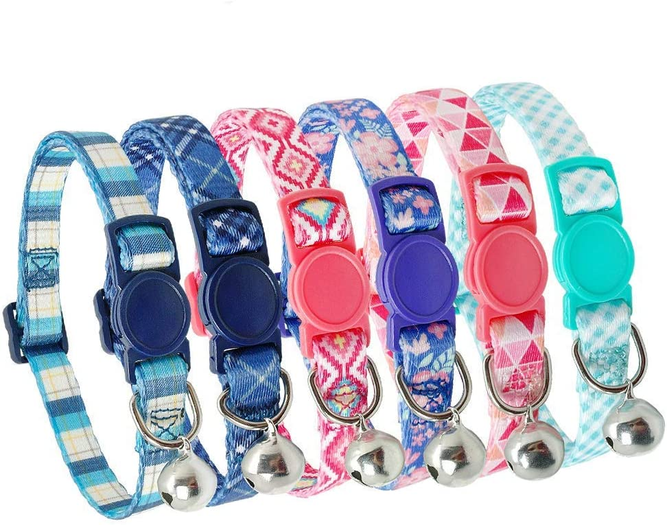 Set of 2 YASMA Pack of 2 Cat Collars,Breakaway cat Collar with Bell Kitten Collars with Bell Charm Nylon. Solid /& Safe