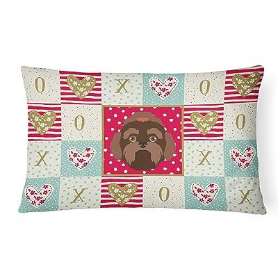 Caroline's Treasures CK5233PW1216 Russian Lapdog Love Canvas Fabric Decorative Pillow, 12H x16W, Multicolor : Garden & Outdoor