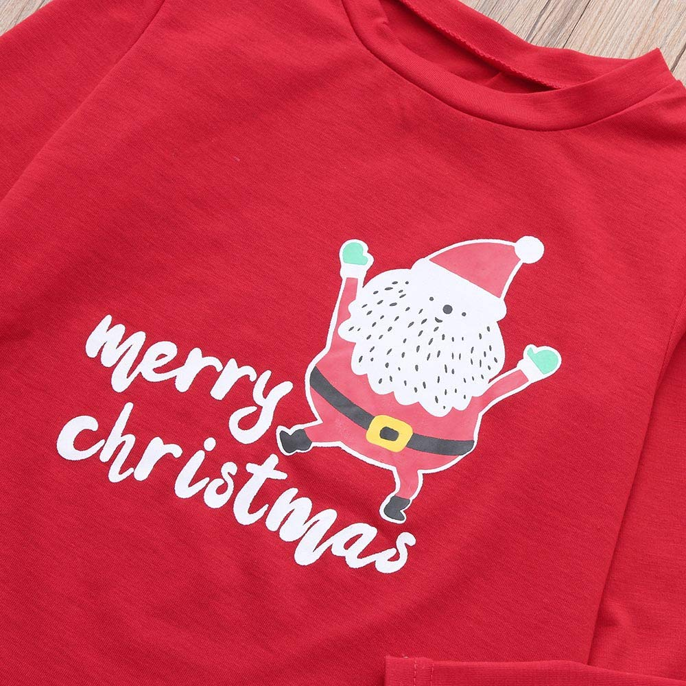 Weihnachten Schlafanzug Familien Outfit Mutter Vater Kind Baby Pajama Casual Langarm Nachtw/äsche Deer Print Sleepwear Casual Cartoon Langarmshirt Oberteile Top Kariert Hose Set von Innerternet