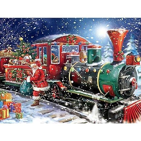 TONVER 5D Kit de pintura de diamantes, mosaico diamante dibujo Christmas Train paisaje artes manualidades