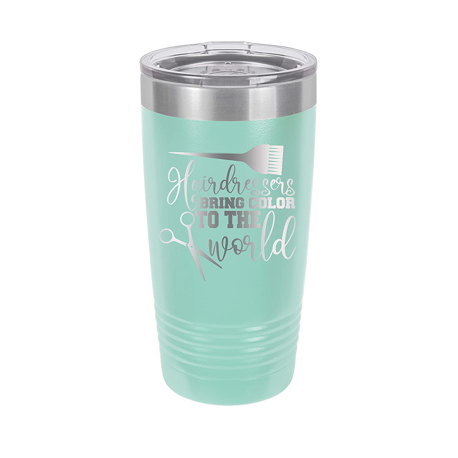 Hairdressers Bring Color to the World Turquoise Engraved Insulated Stainless Steel 20 oz Tumbler
