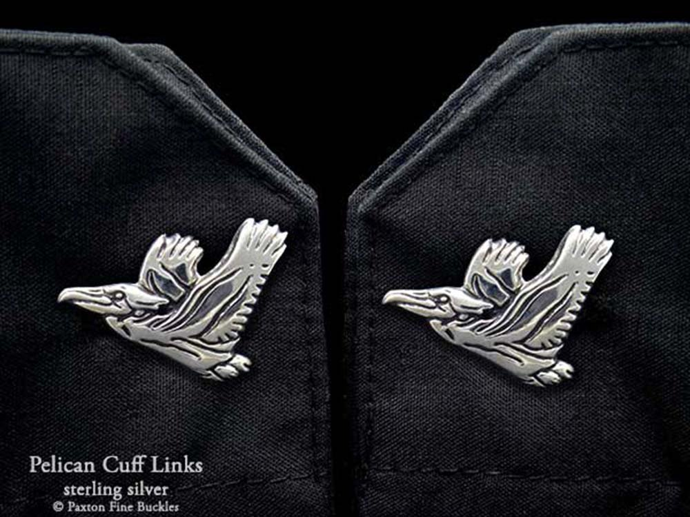 Pelican Cuff Links in Solid Sterling Silver Hand Carved & Cast by Paxton