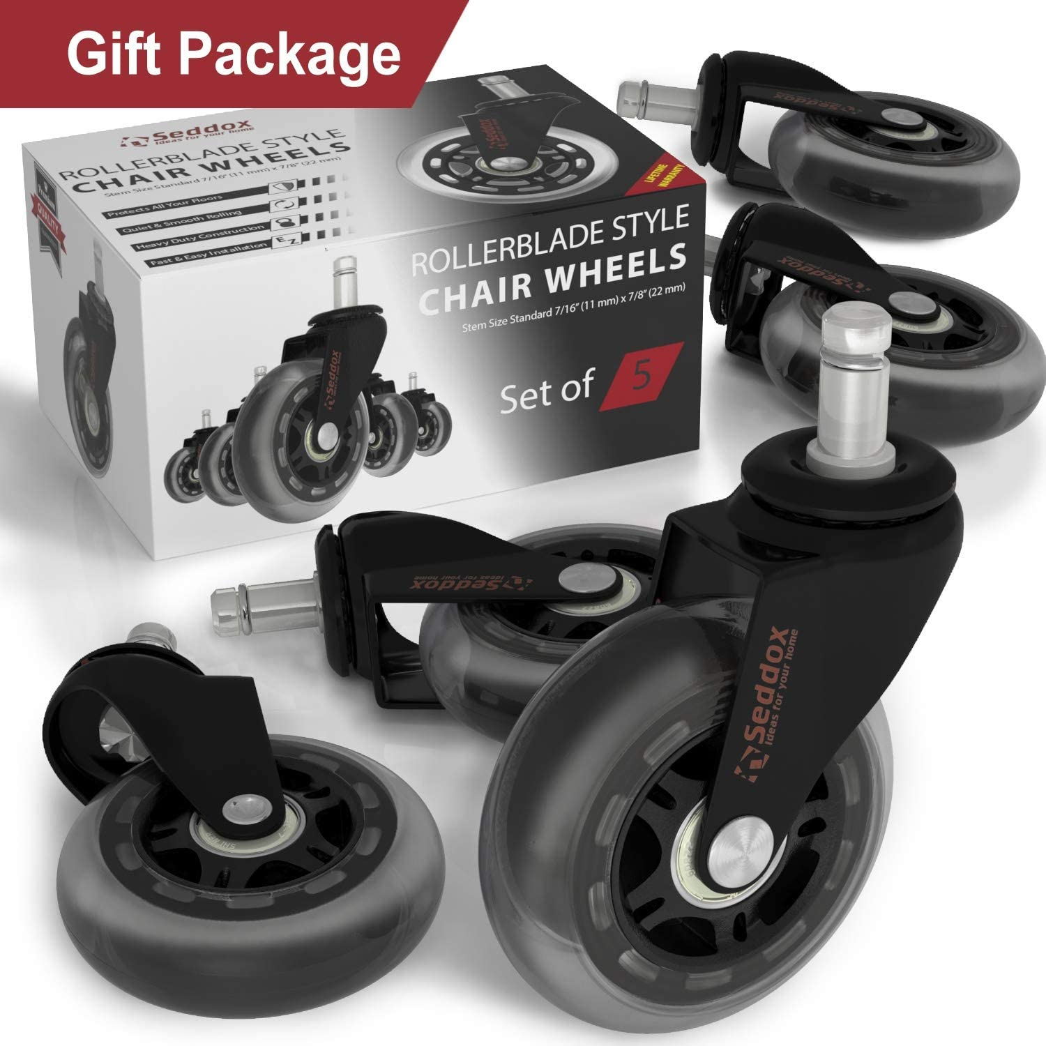 Professional Office Chair Caster Wheels Gift Set of 5 - Protect All Your Floors - 3'' Heavy Duty Replacement Rubber Desk Chair Casters - Best Protection for Your Hardwood Floors : Office Products