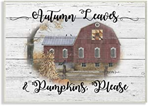 Stupell Industries Pumpkins Please Fall Autumn Farm Rustic Wood Textured, Design by Billy Jacobs Art, 13 x 19, Wall Plaque