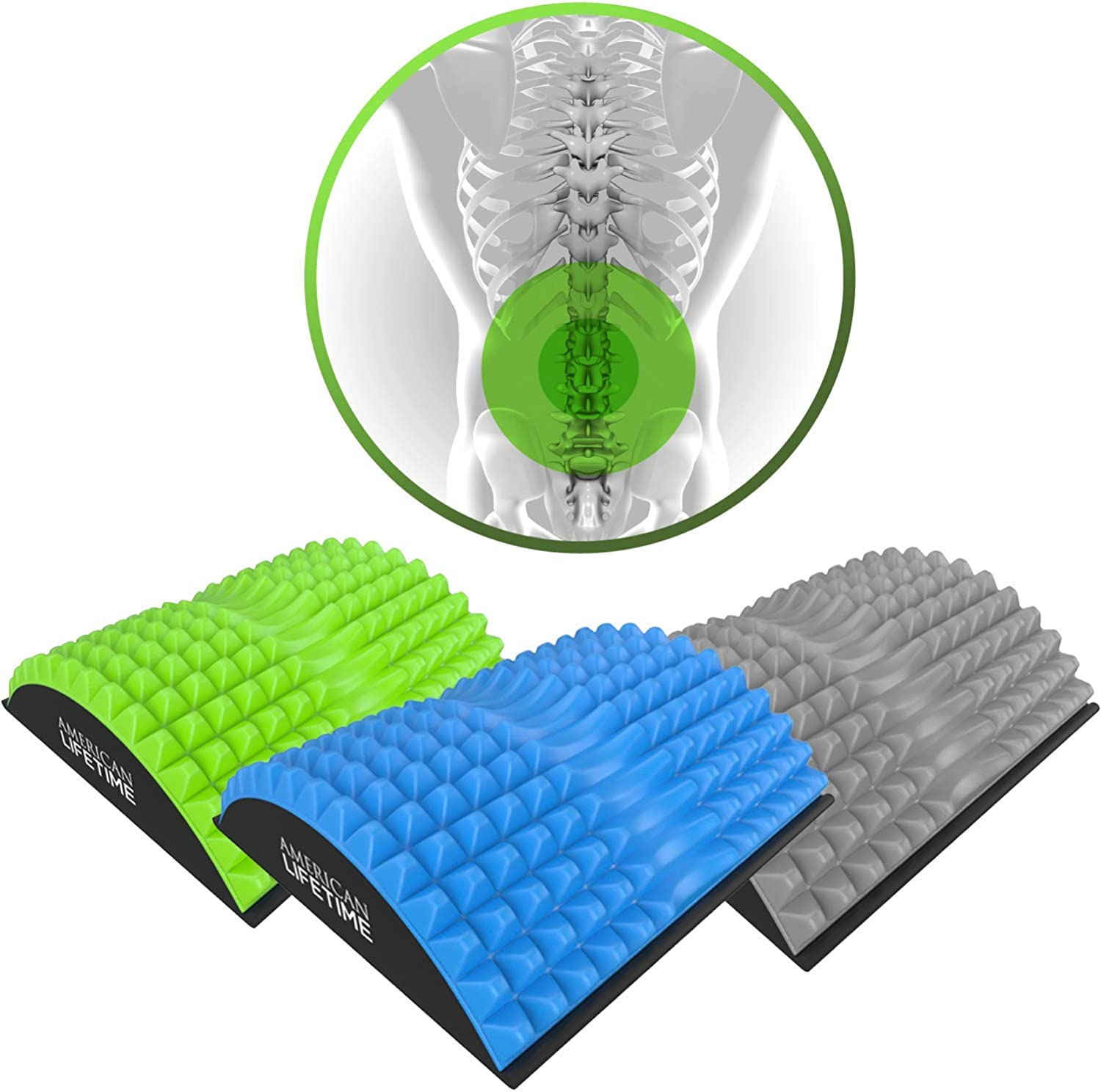 American Lifetime Lower Back Stretcher – Massage for Chronic Lumbar Pain Relief Treatment – Helps with Spinal Stenosis Sciatica Herniated Disc and Neck Muscle Pain – 1 Year Warranty – Blue