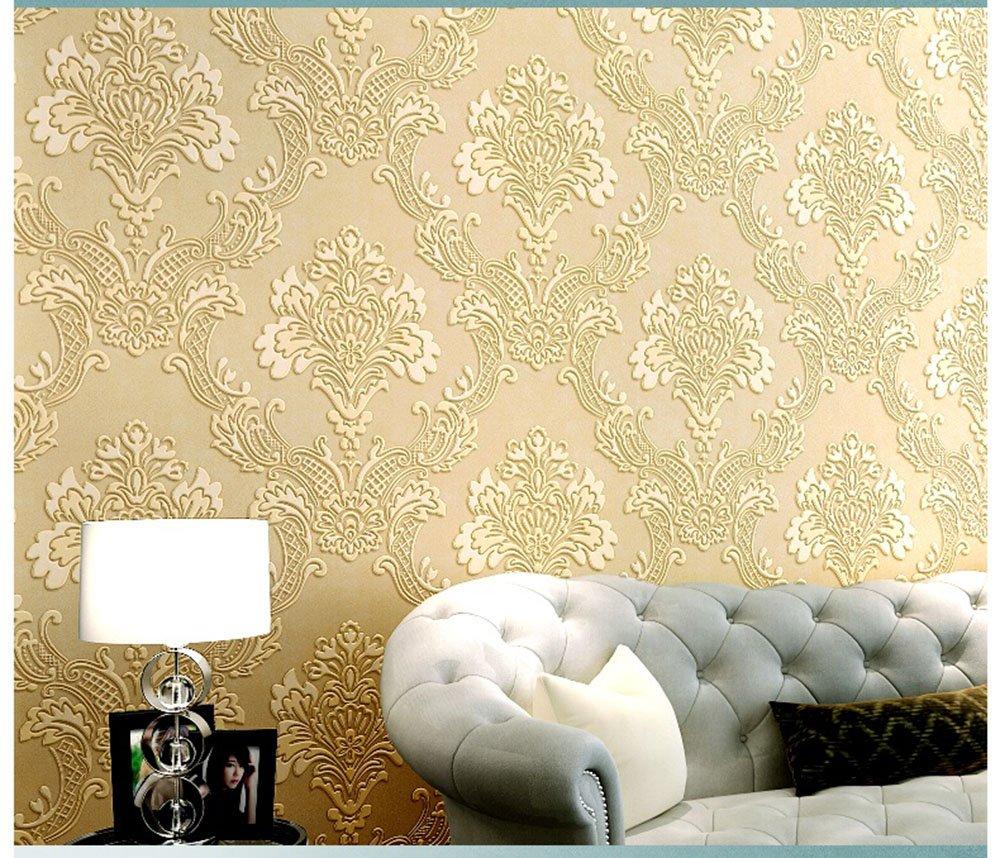 HaokHome 1011 Luxury Damask Flocking Textured Wallpaper Roll Cream ...