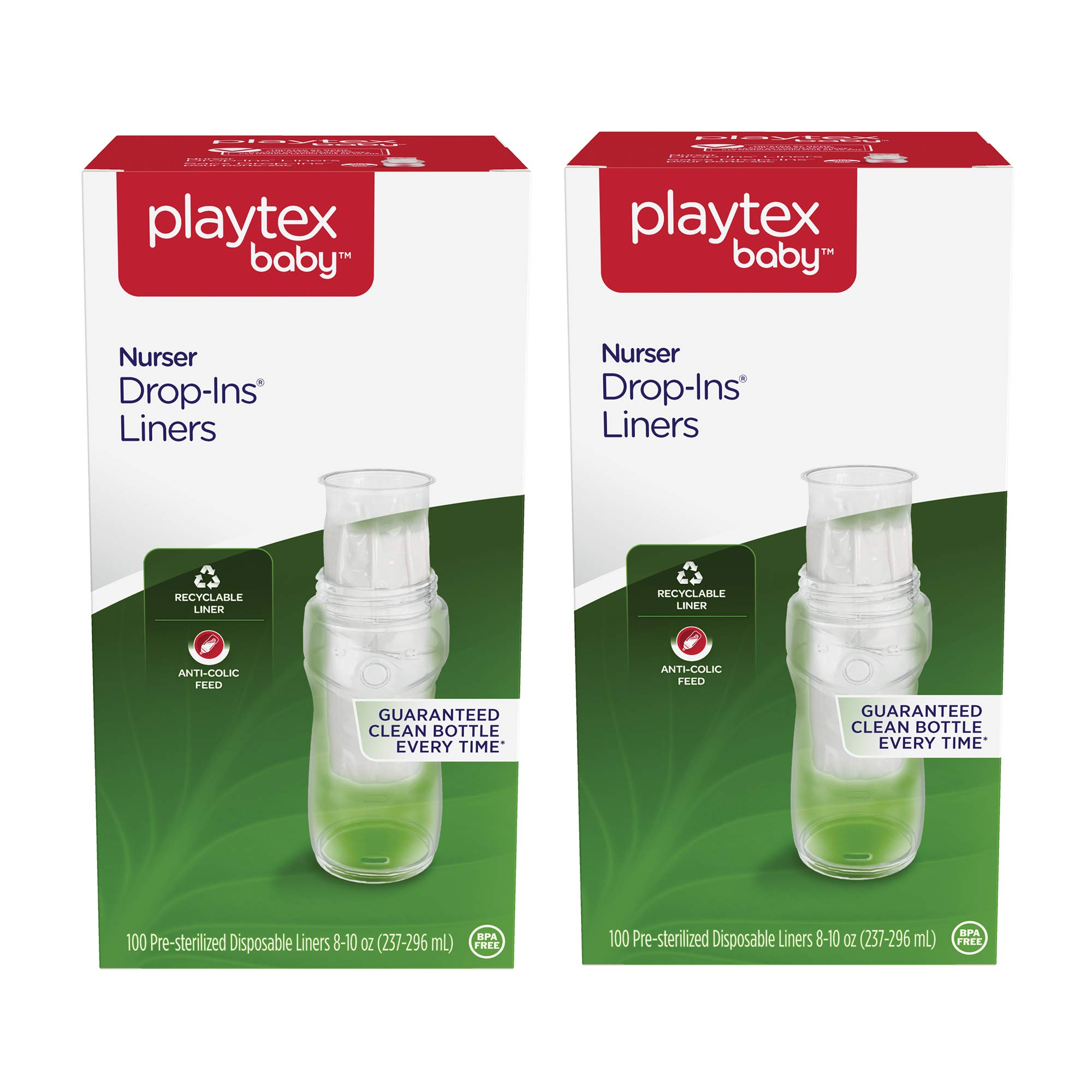 Playtex Baby Nurser Drop-Ins Baby Bottle Disposable Liners, Closer to Breastfeeding, 8 oz, 200 Count by Playtex