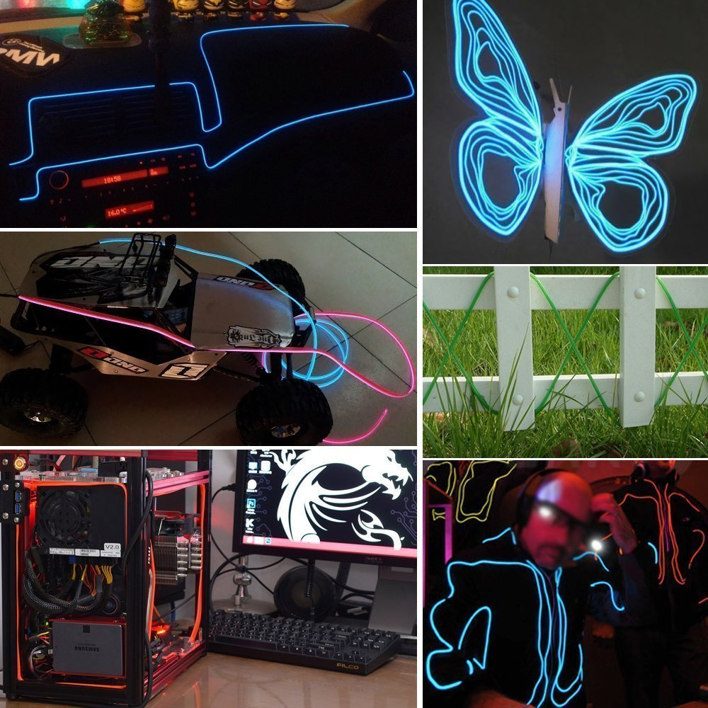 B-right 5m Neon Beleuchtung EL Wire Leuchtschnur EL Kabel ...