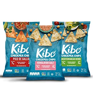 Kibo Chickpea Chips - Gluten Free and Plant-Based, Non-GMO, Kosher + Vegan. 3 Flavor Variety Pack, 1 oz. 12 pack.