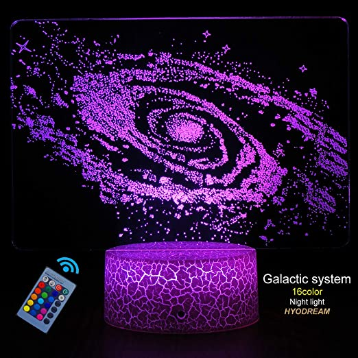 Solar System 3D Optical Illusion Lamp Solar System 16 Colours Changing Acrylic LED Night Light for Boys and Girls as on Birthdays or Holidays Universe Space Galaxy Night Light for Kids