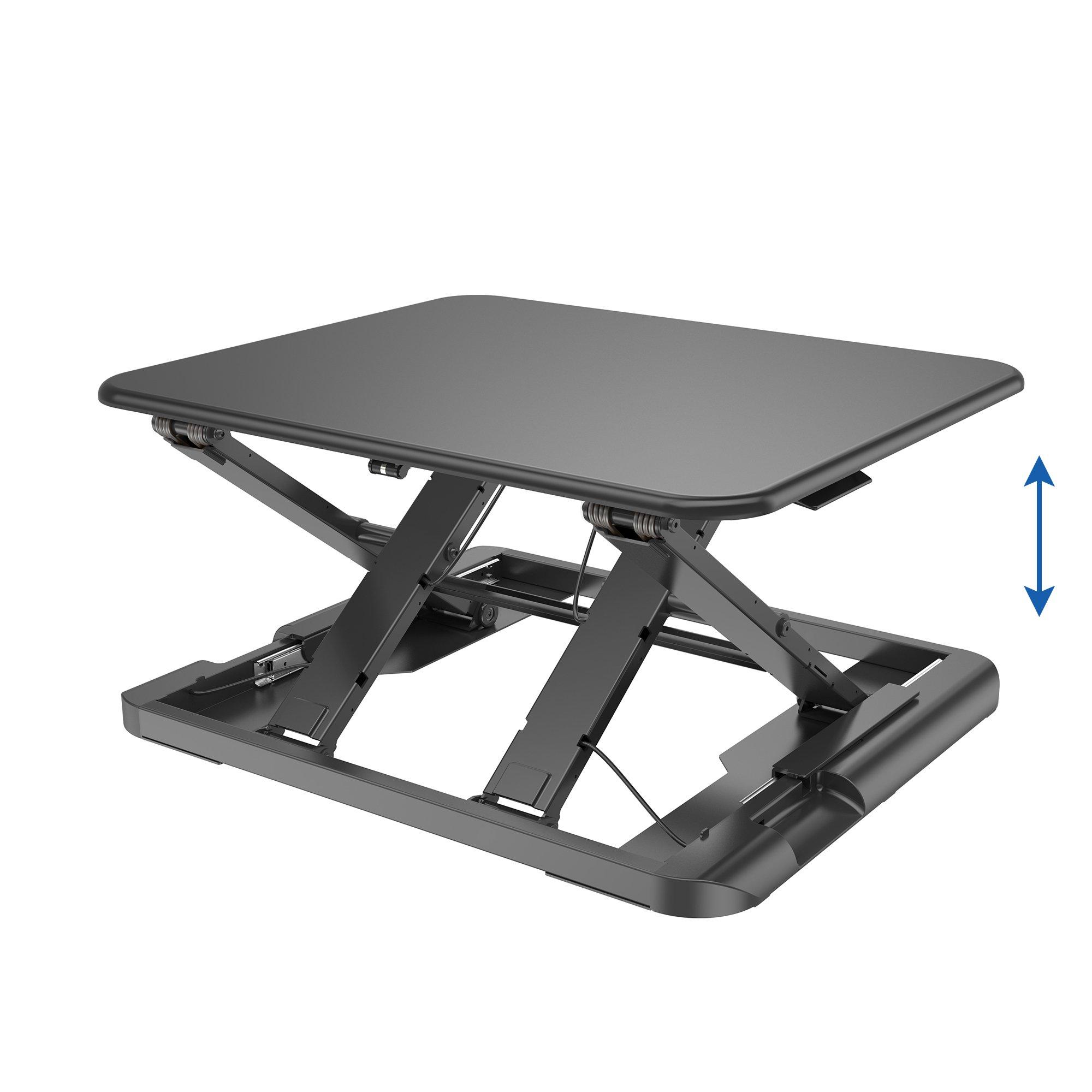 TOTALPACK Standing Desk -X-Elite PRO Sit Stand Desk Converter - Anti Fatigue Height Adjustable Workstation, Extra Large 26.5'' x 22.2'' Desktop Surface, Easy To Raise & Lower - Pre-Assembled, Black