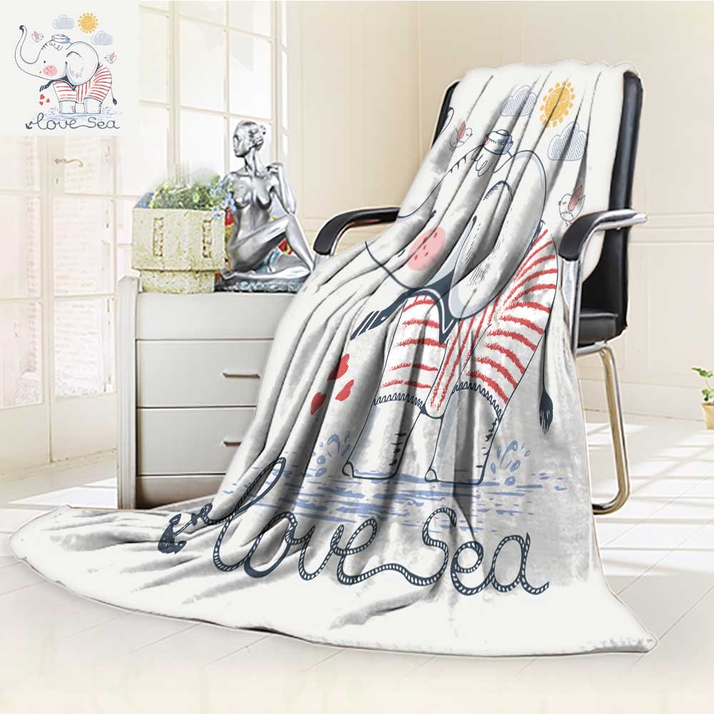 Fleece Blanket 300 GSM Anti-static Super Soft sailor elephant hand drawn vector illustration can be used for kid s or baby Warm Fuzzy Bed Blanket Couch Blanket(60''x 50'')
