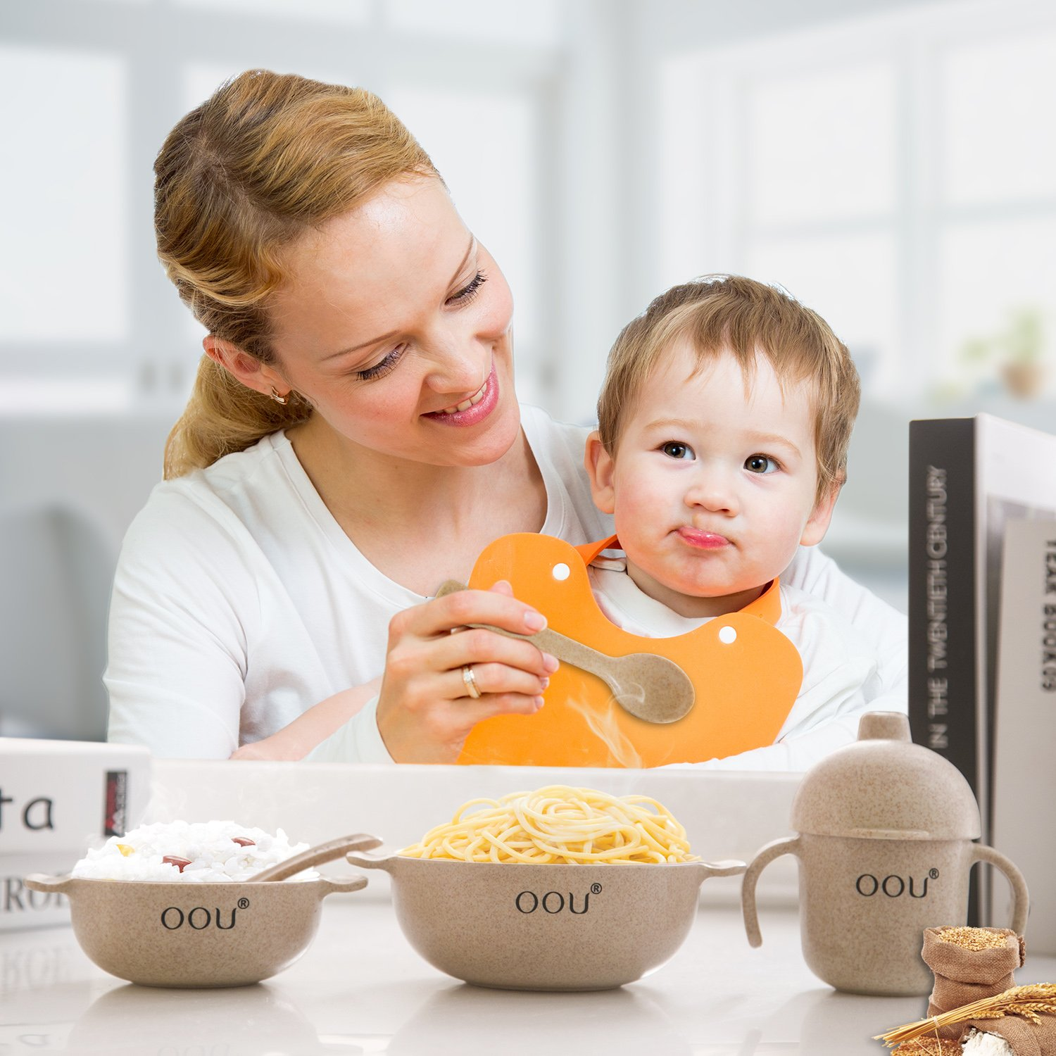 Baby Feeding Bowls - Wheat Fiber Ultimate Baby Feeding Set Baby Bowls Fork Spoon and Cup Perfect To Go Storage FDA Approved BPA Free CPC Certified by OOU (Image #8)