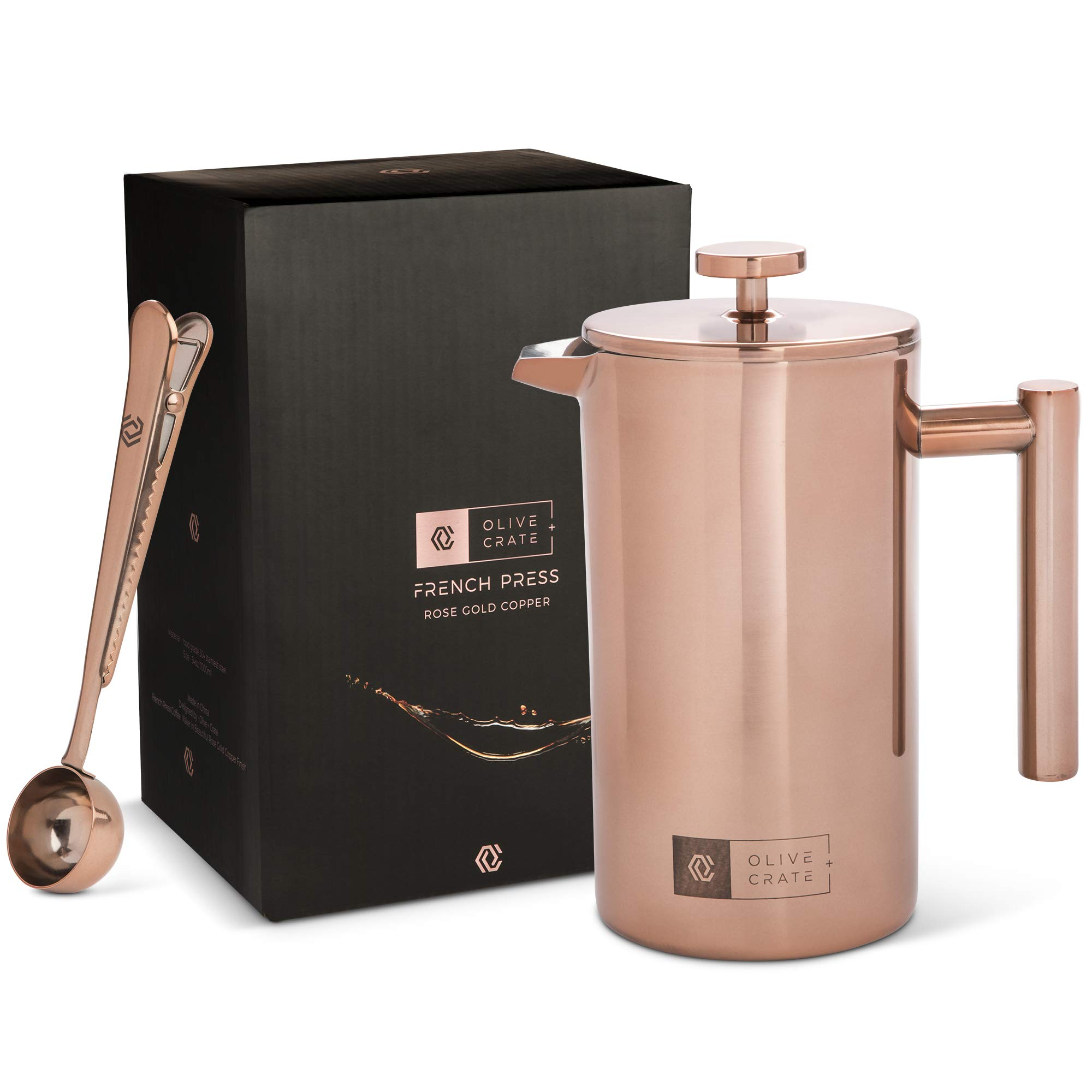 Copper French Press Coffee Maker, Measuring Spoon and Clip - Portable, Manual Coffee Makers - Double-wall, Stainless Steel Pot and Brewer, Great For Travel and Outdoors, Rose Gold, 34 oz