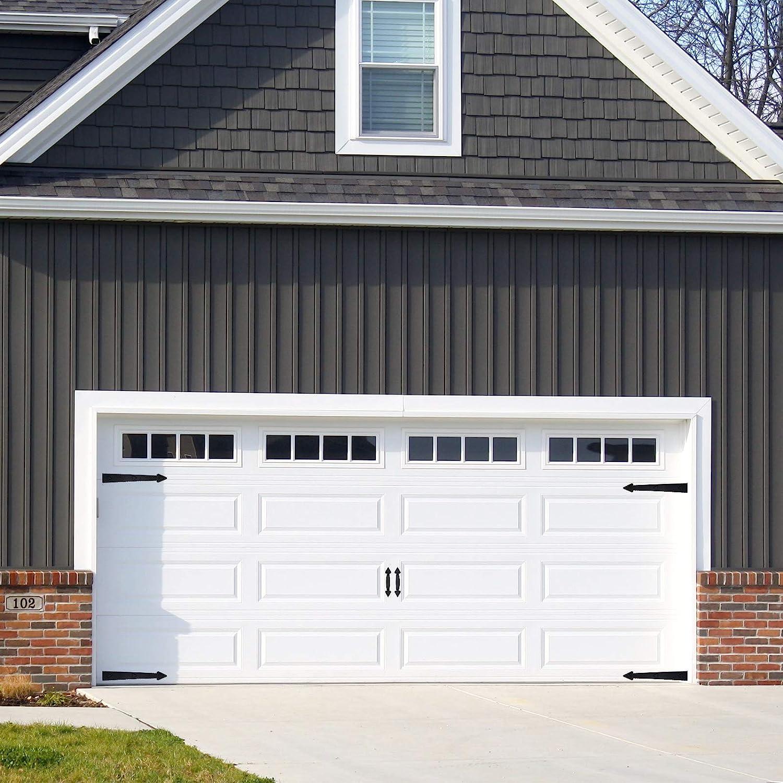 Decorative Premium Magnetic Garage Door Hardware Kit Carriage House Accents Faux 4 Hinges and 2 Handles Decor Kit for Metal Garage Door, Black