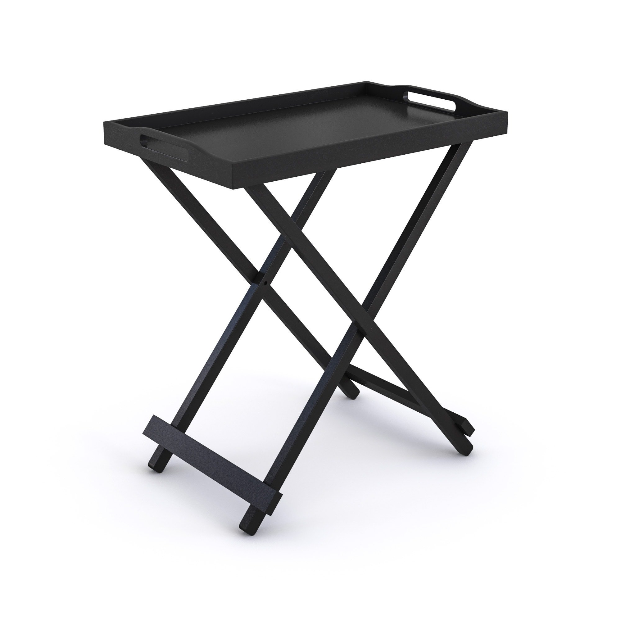 Tv Tray Tables with Removable Serving Tray Portable Table Top Folding Lightweight End Table Snack Table for Living Room Wood Furniture Includes Bonus Ebook Home Decorating on a Budget (Black)