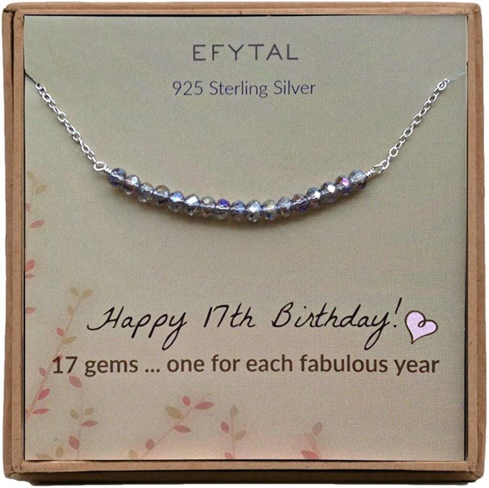 Amazon Com Efytal 17th Birthday Gifts For Girls Sterling Silver Necklace 17 Beads For 17 Year Old Girl Jewelry Gift Idea Clothing