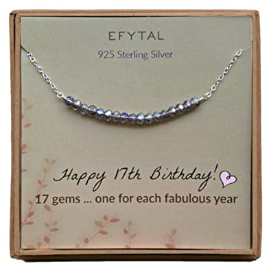 EFYTAL 17th Birthday Gifts For Girls Sterling Silver Necklace 17 Beads Year